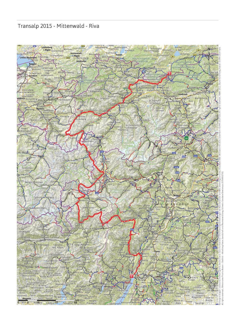 Transalp 2015 - Gesamte Route